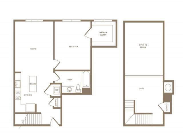 978 square foot one bedroom one bath loft apartment floorplan image