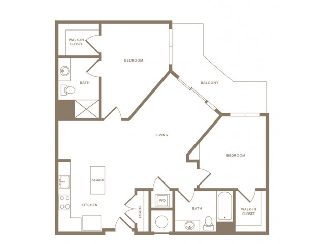 1071 square foot two bedroom two bath apartment floorplan image