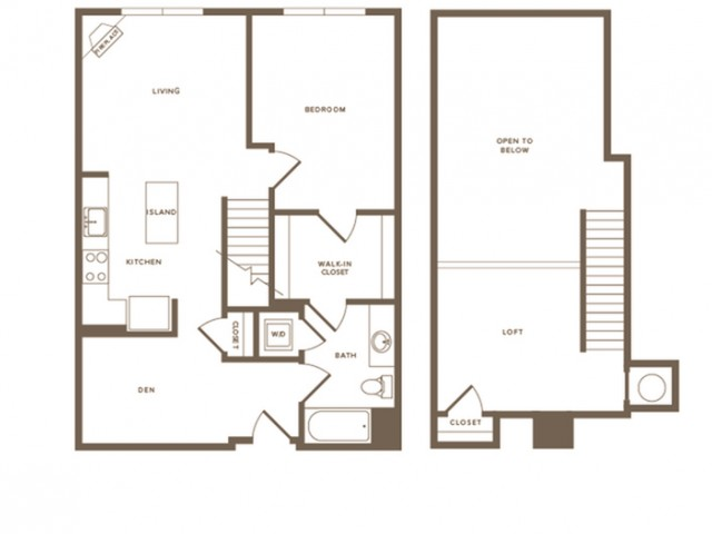 993 square foot one bedroom one bath with den loft apartment floorplan image