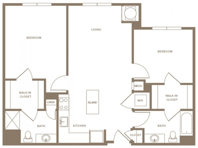 1000 to 1343 square foot two bedroom two bath apartment floorplan image