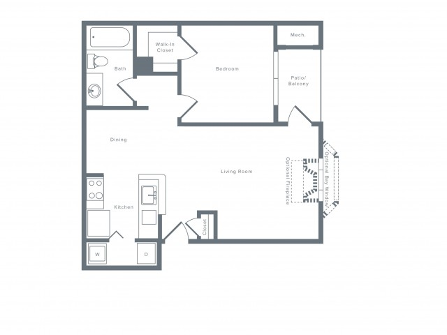 780 square foot one bedroom one bath apartment floorplan image