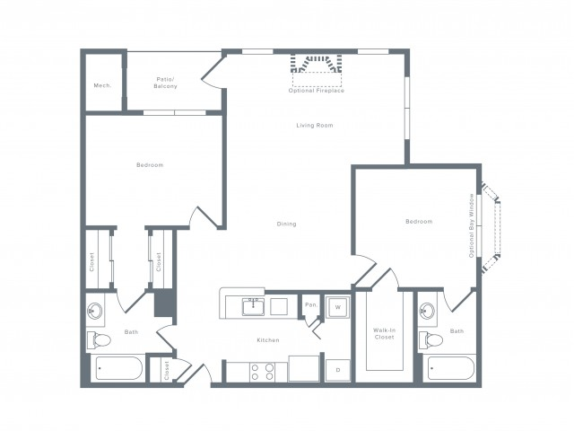 1112 square foot two bedroom two bath apartment floorplan image