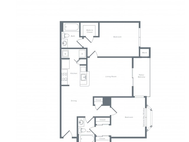 1013 square foot two bedroom two bath apartment floorplan image