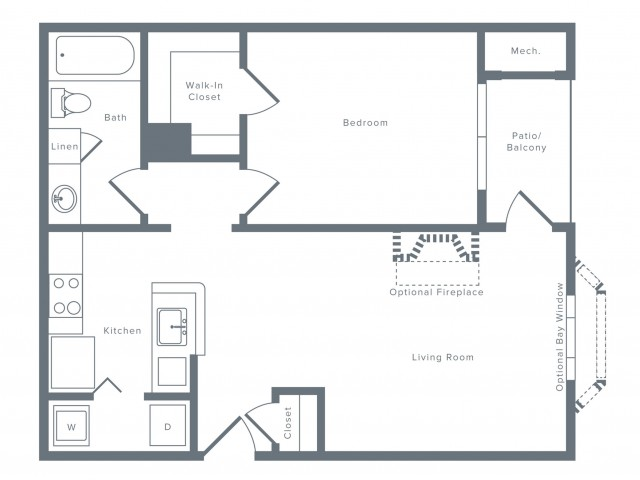 698 square foot one bedroom one bath apartment floorplan image
