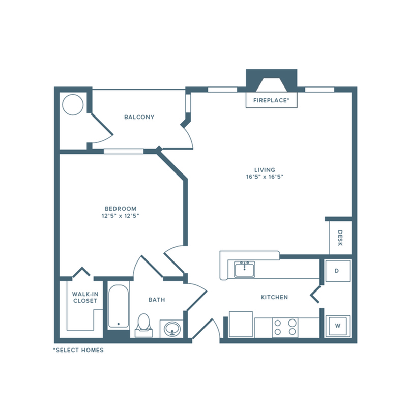 717 square foot renovated one bedroom one bath with attached garage apartment floorplan image