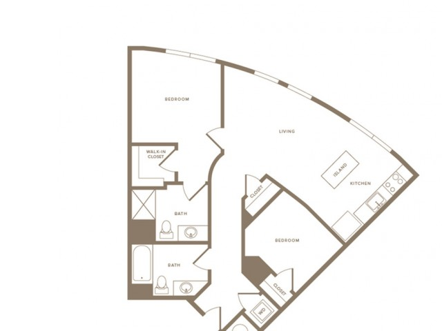 1009 square foot two bedroom two bath apartment floorplan image