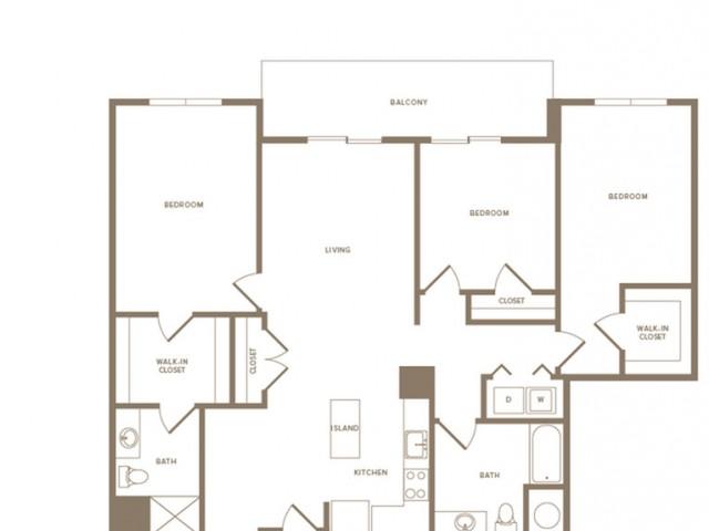 1517 square foot three bedroom two bath apartment floorplan image