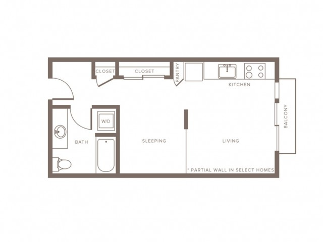 506 square foot studio one bath floor plan image