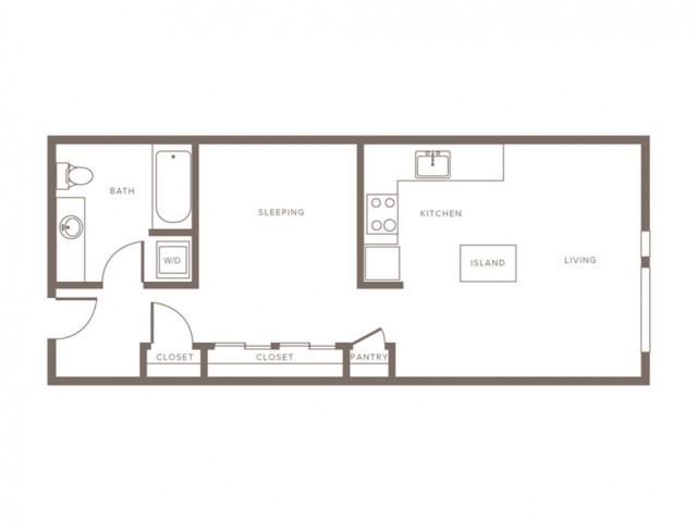 636 square foot one bedroom one bath apartment floorplan image