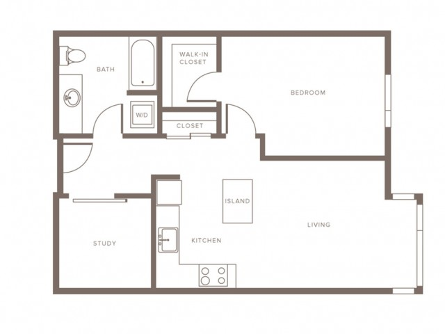 753 square foot one bedroom one bath with study apartment floorplan image