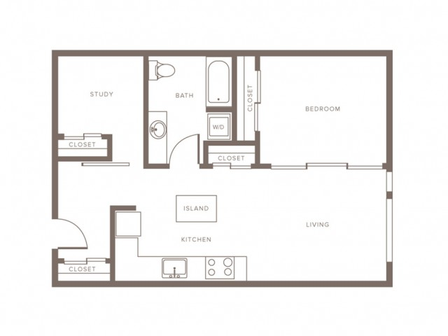 823 square foot one bedroom one bath with study apartment floorplan image