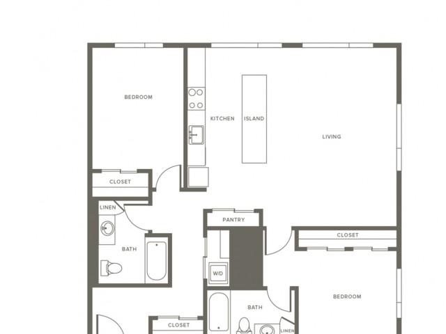 1028 square foot two bedroom two bath apartment floorplan image