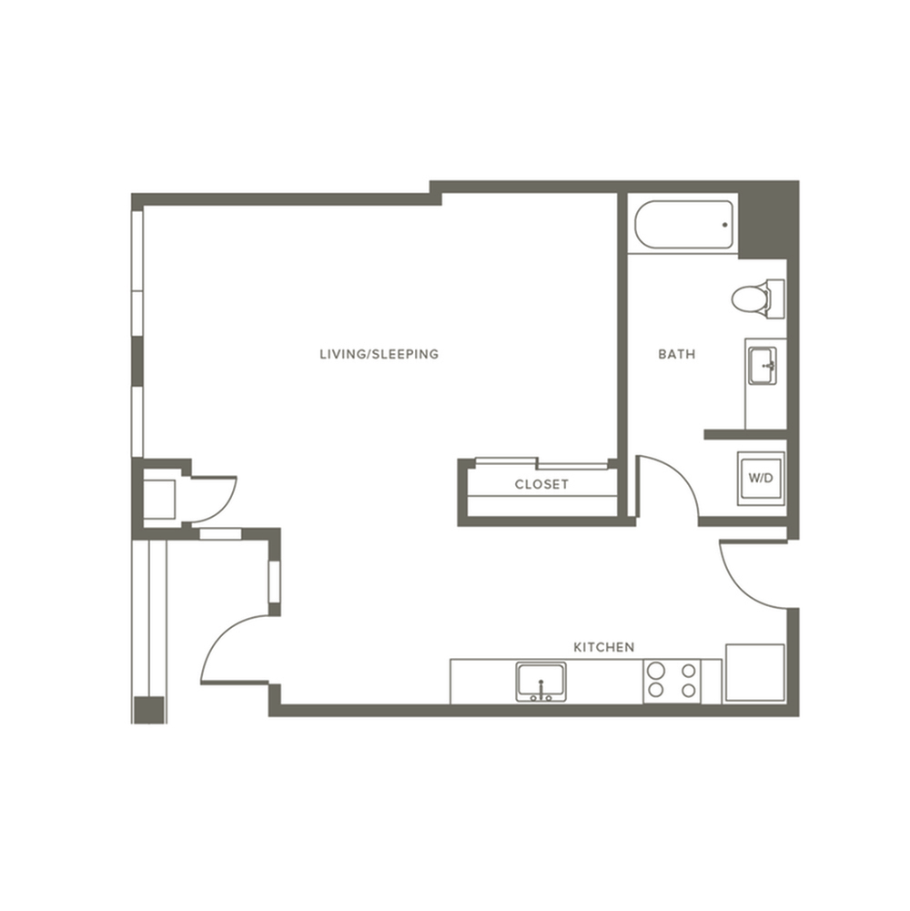 663 square foot studio one bath apartment floor plan image