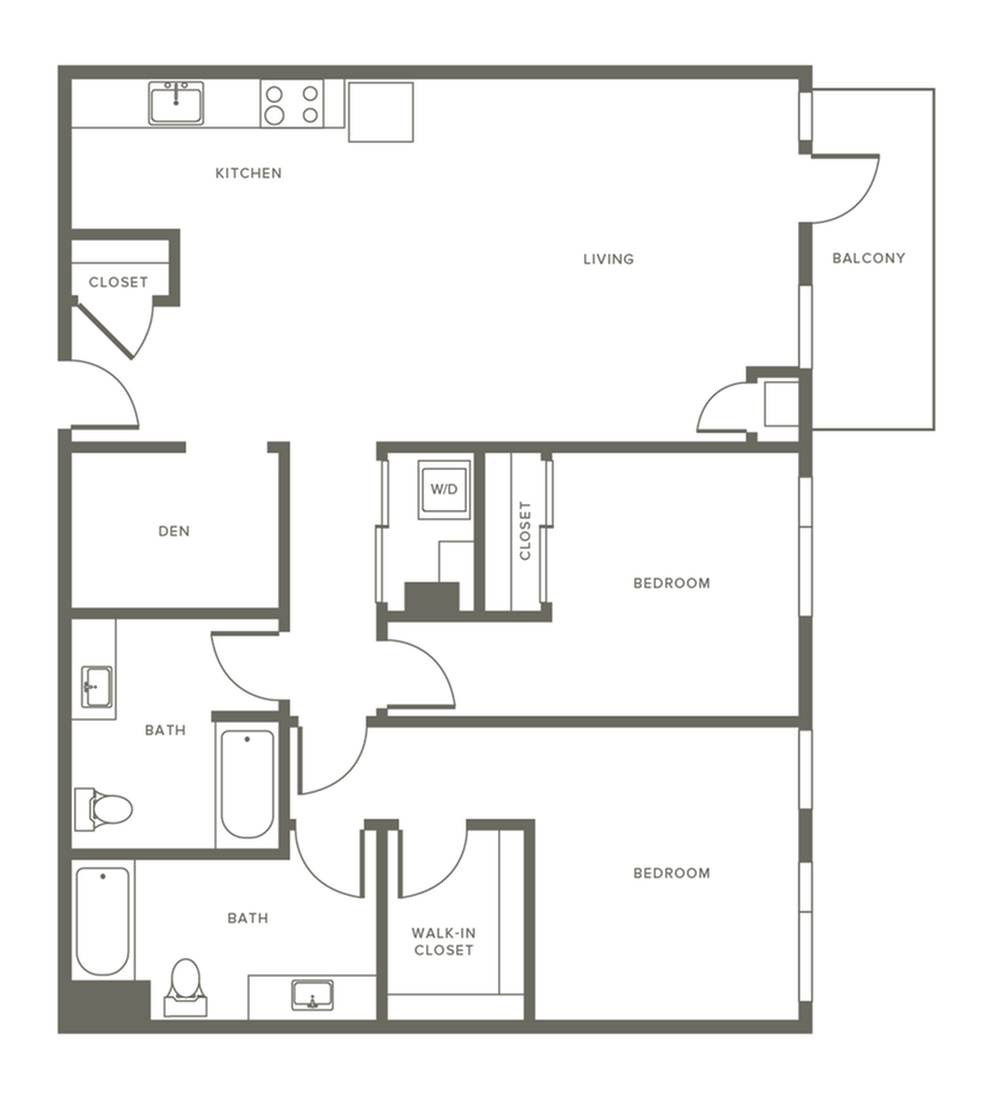 1208 square foot two bedroom two bath with den and balcony apartment floorplan image