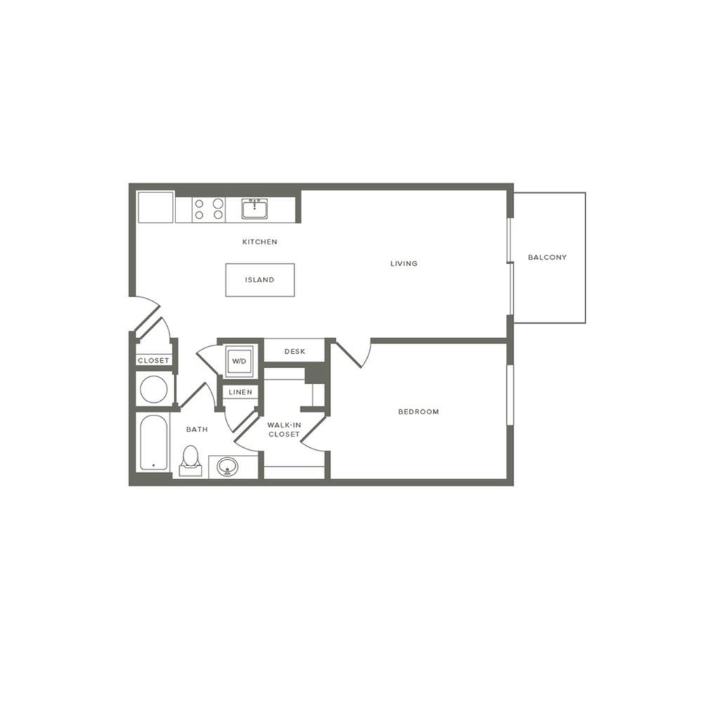 745 square foot one bedroom one bath balcony apartment floorplan image