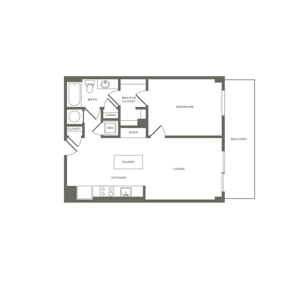 745 square foot one bedroom one bath large balcony apartment floorplan image