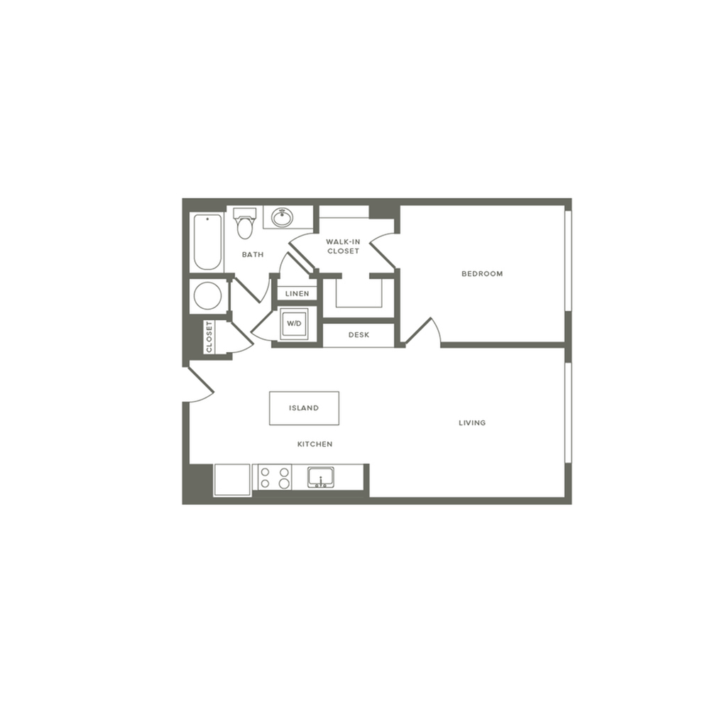 745 square foot one bedroom one bath with entry closet facing laundry apartment floorplan image
