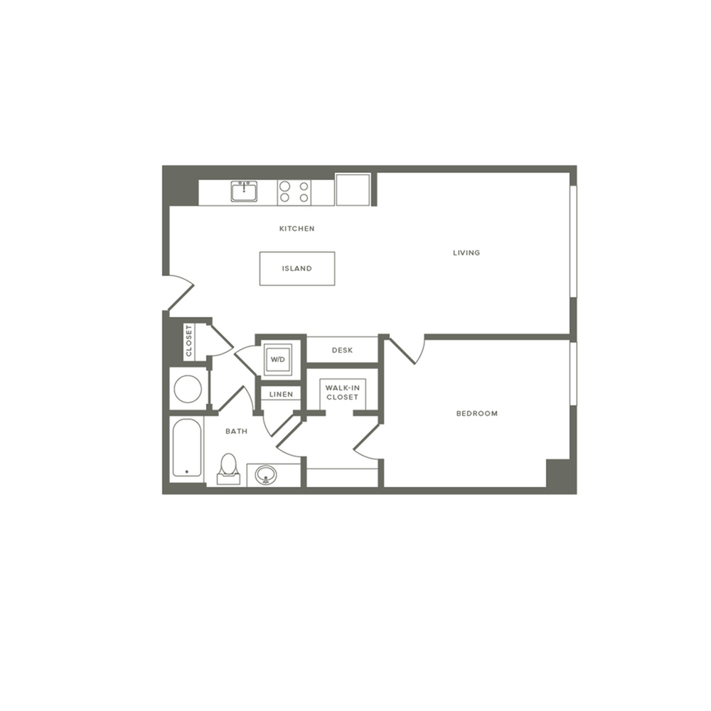 722 square foot one bedroom one bath apartment floorplan image