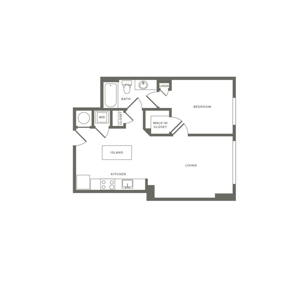 648 square foot one bedroom one bath apartment floorplan image
