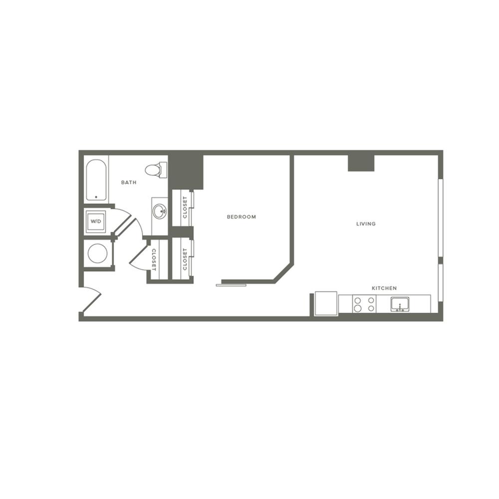 703 square foot one bedroom one bath apartment floorplan image