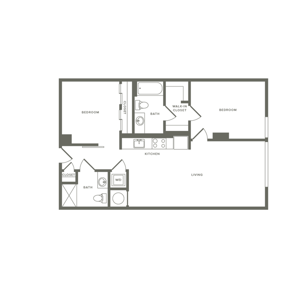 940 square foot two bedroom two bath apartment floorplan image