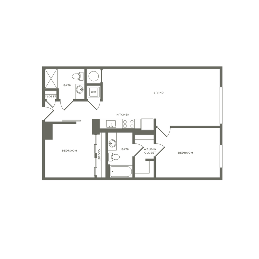 936 square foot two bedroom two bath apartment floorplan image