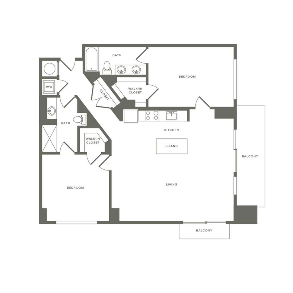 1237 square foot two bedroom two bath apartment floorplan image