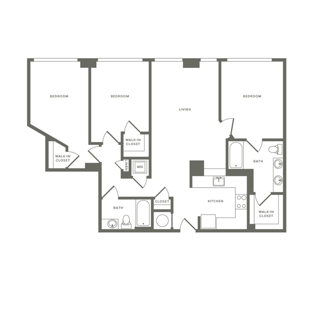 1264 square foot three bedroom two bath apartment floorplan image