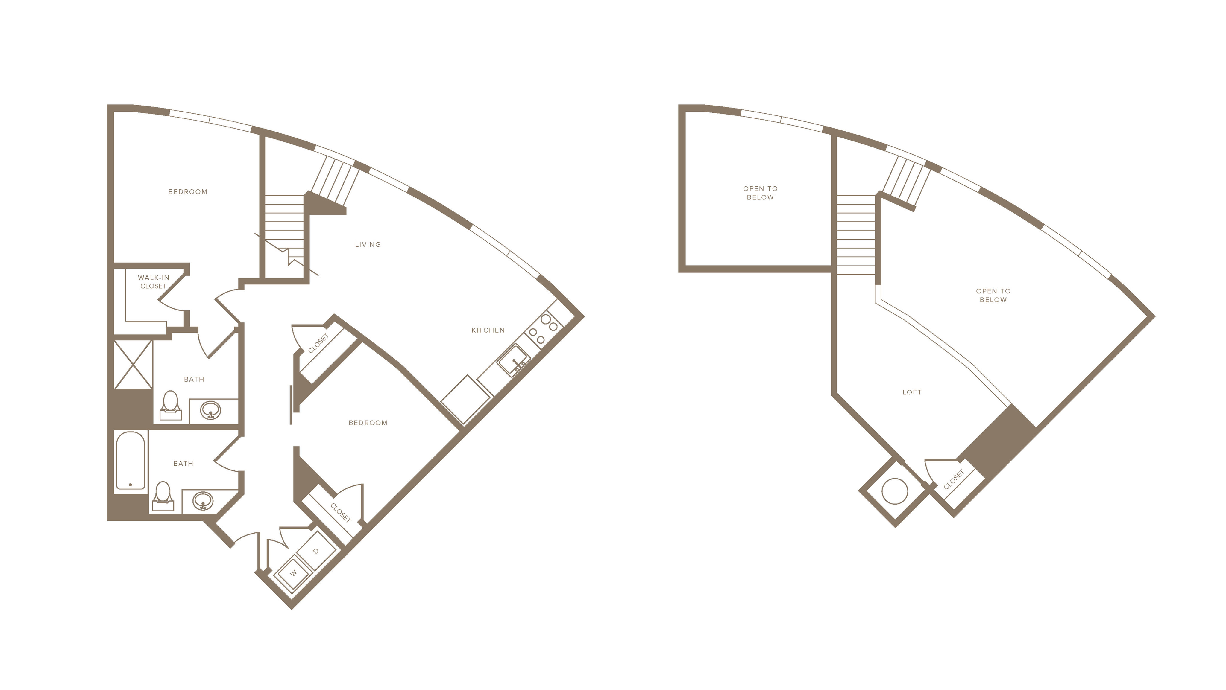 1143 square foot two bedroom two bath loft apartment floorplan image