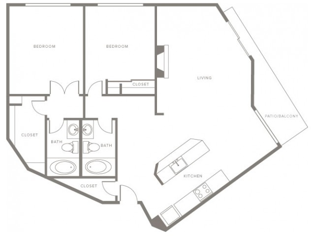1150 square foot two bedroom two story apartment floor plan