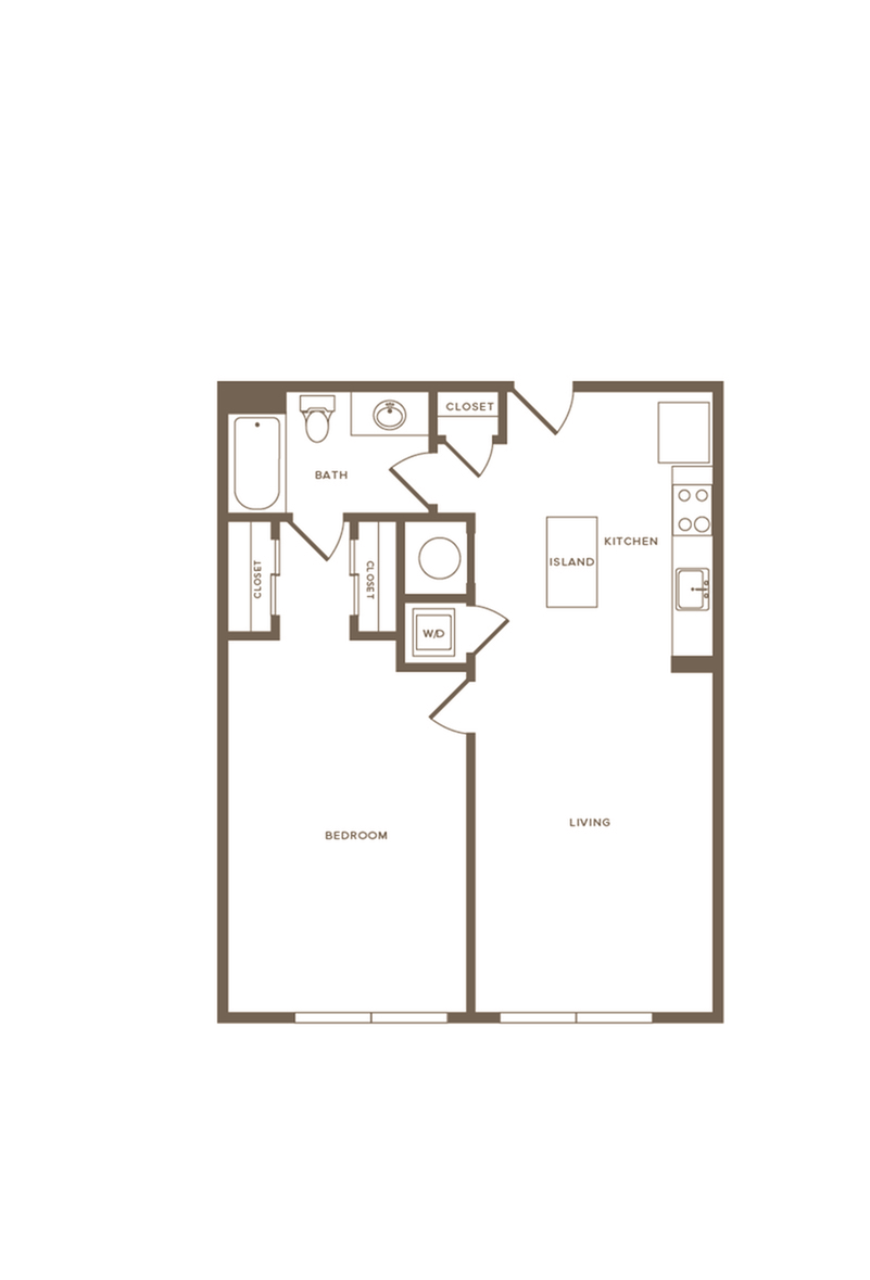 797 square foot one bedroom one bath apartment floorplan image