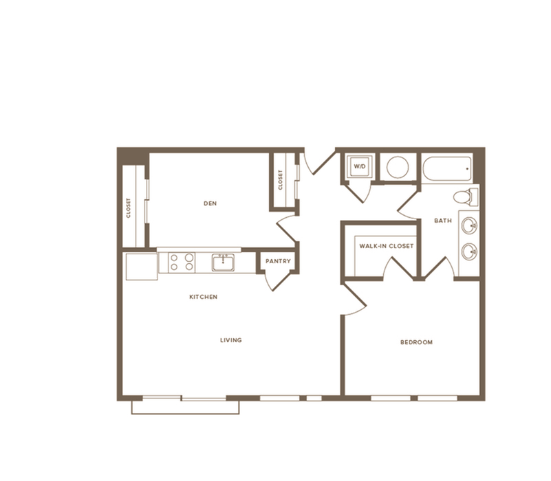 872 square foot one bedroom one bath with den apartment floorplan image