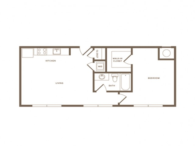 758 square foot one bedroom one bath apartment floorplan image