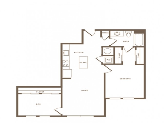 875 square foot one bedroom one bath with den apartment floorplan image