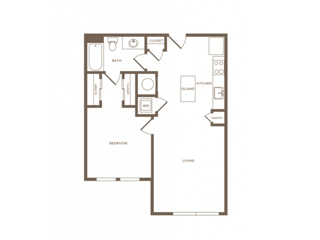 719 square foot one bedroom one bath apartment floorplan image
