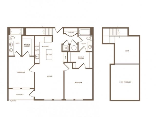 1302 square foot two bedroom two bath loft apartment floorplan image