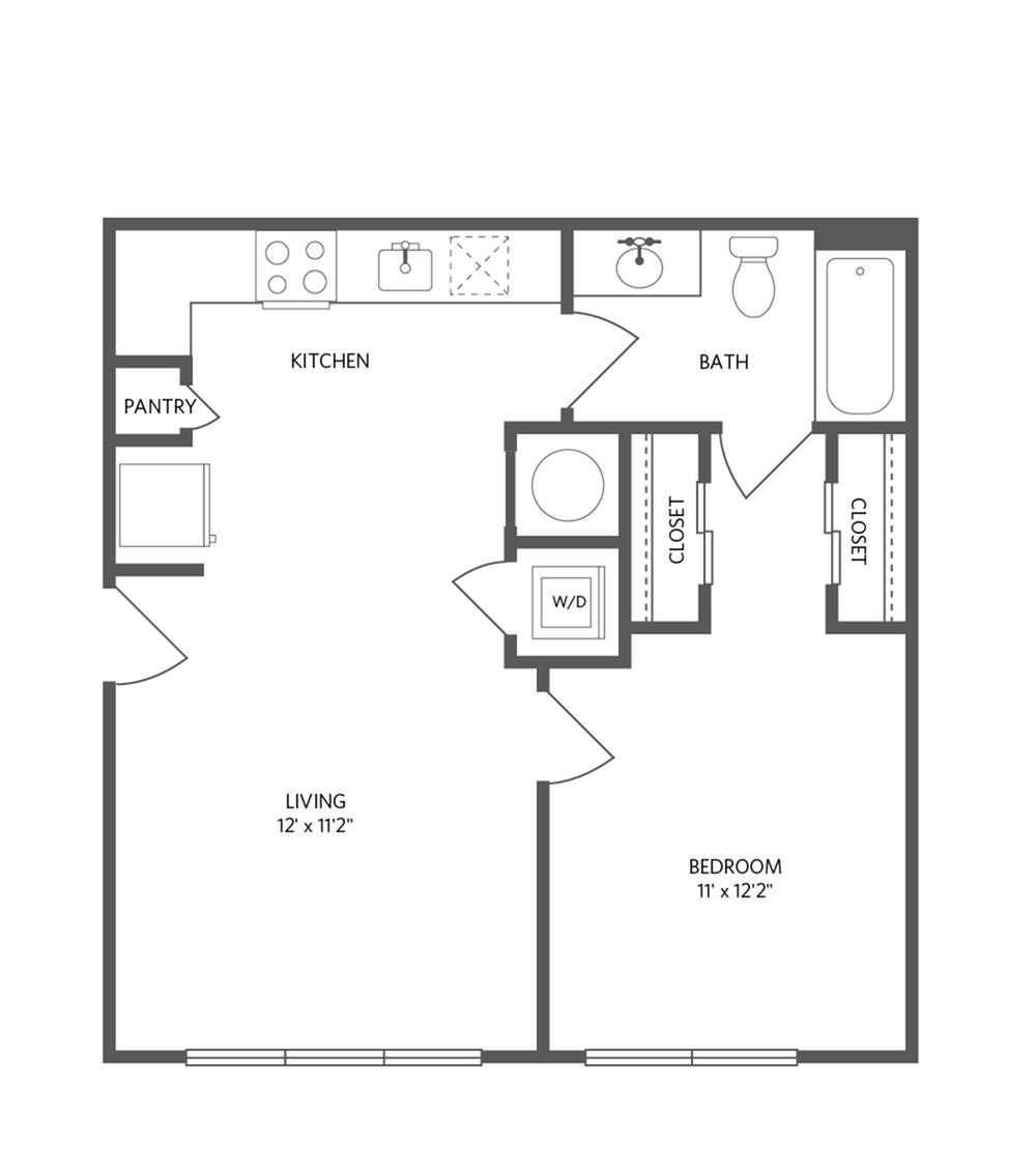 606 square foot one bedroom one bath apartment floorplan image