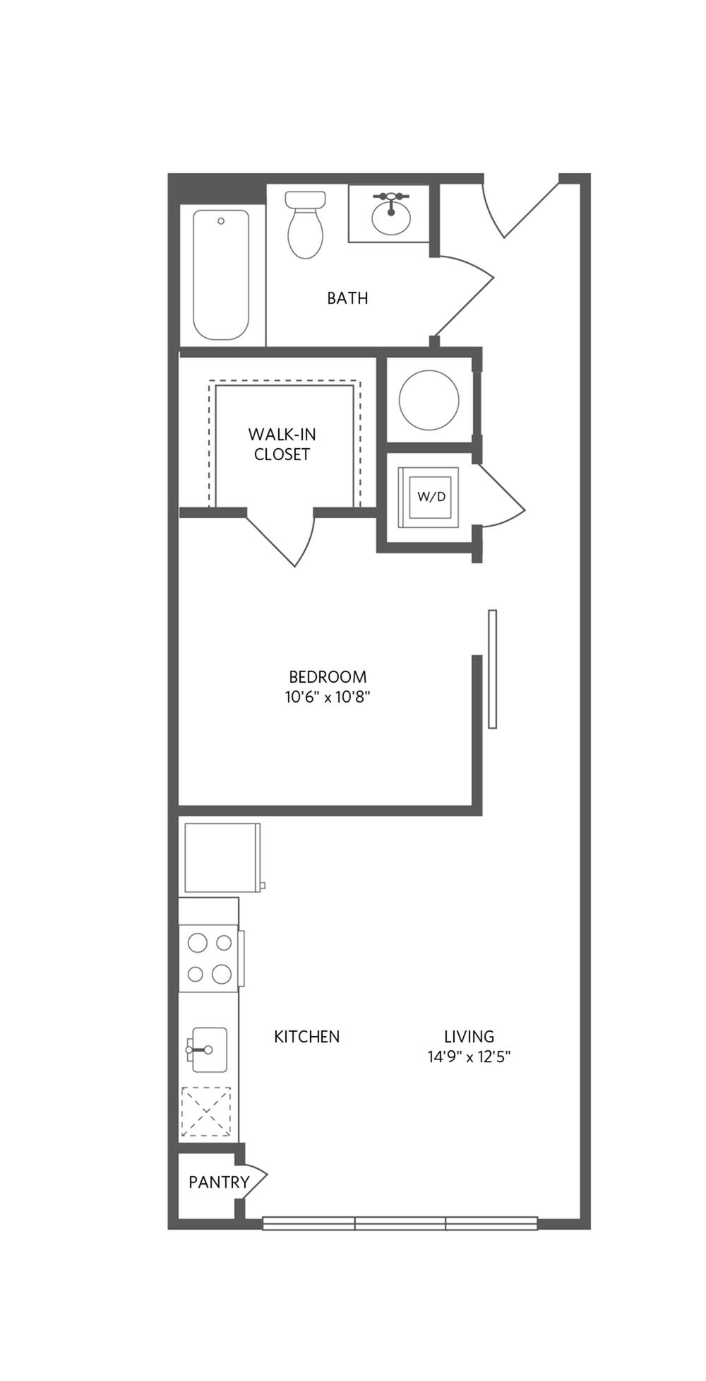 590 square foot one bedroom one bath apartment floorplan image