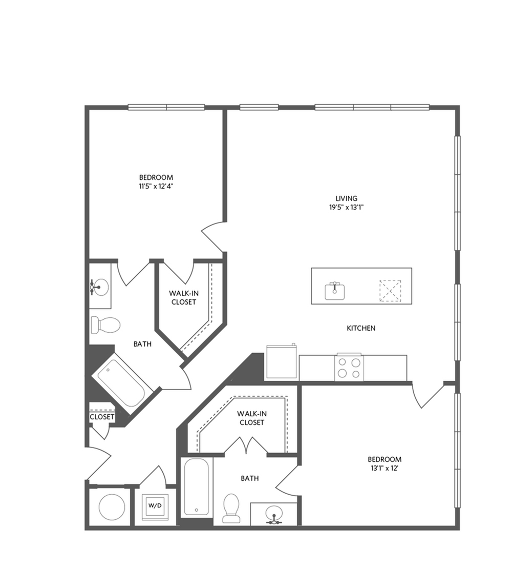 1147 square foot two bedroom two bath apartment floorplan image