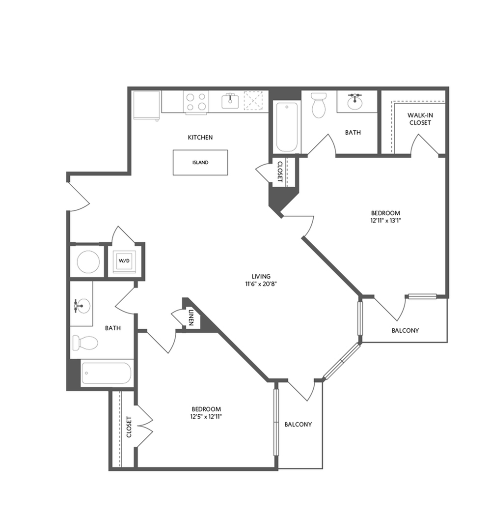 1018 square foot two bedroom two bath apartment floorplan image