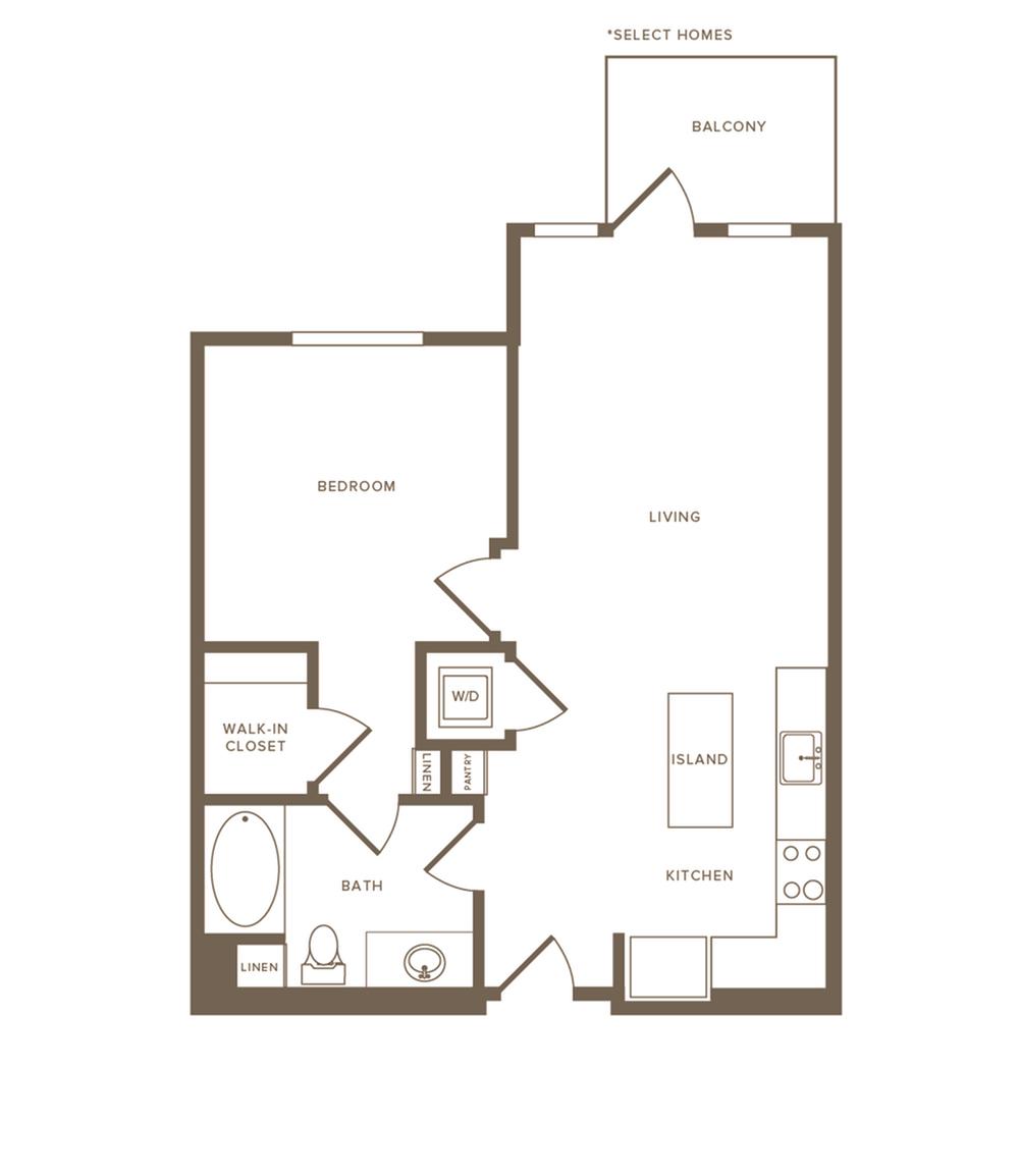 640-651 square foot one bedroom one bath floor plan image