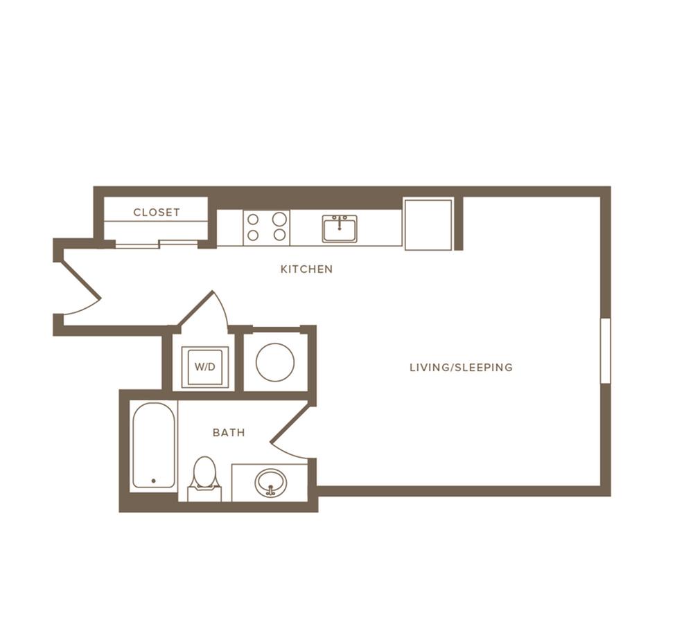 430 to 446 square foot studio one bath apartment floor plan image