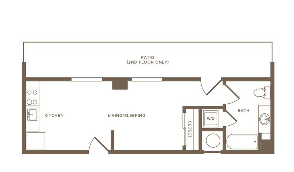 409 to 418 square foot studio one bath apartment floor plan image