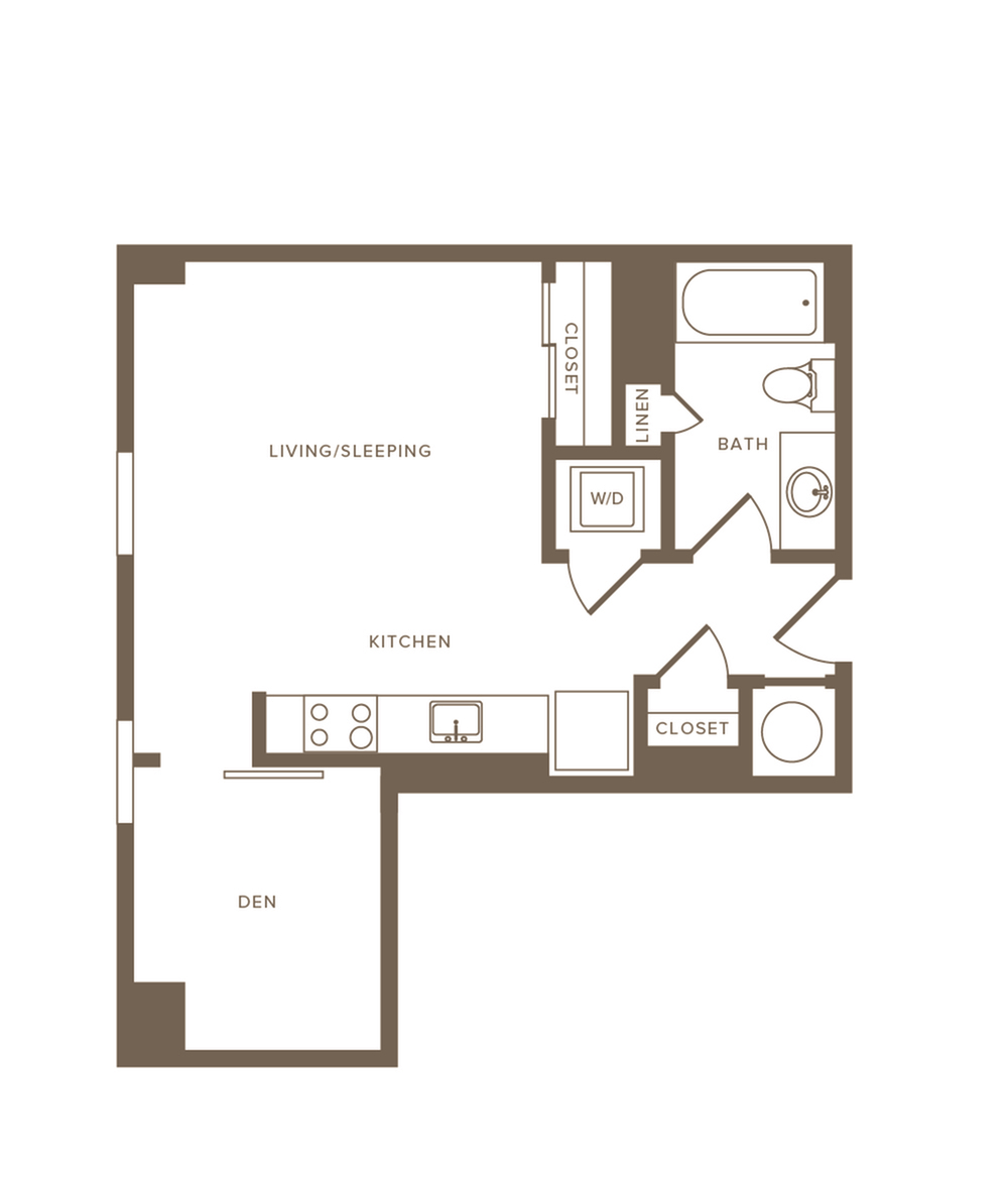 536 to 540 square foot studio one bath with den apartment floor plan image