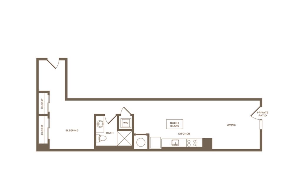 820 square foot studio one bath apartment floor plan image