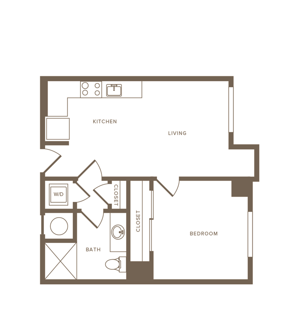 548 to 579 square foot one bedroom one bath apartment floorplan image