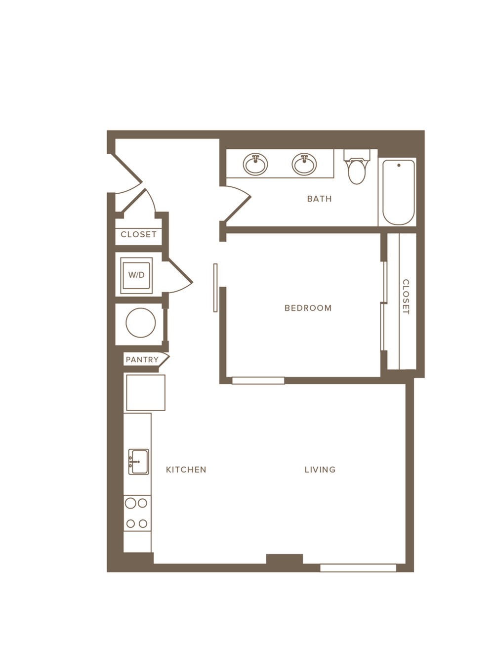 643 to 666 square foot one bedroom one bath with dual sinks apartment floorplan image