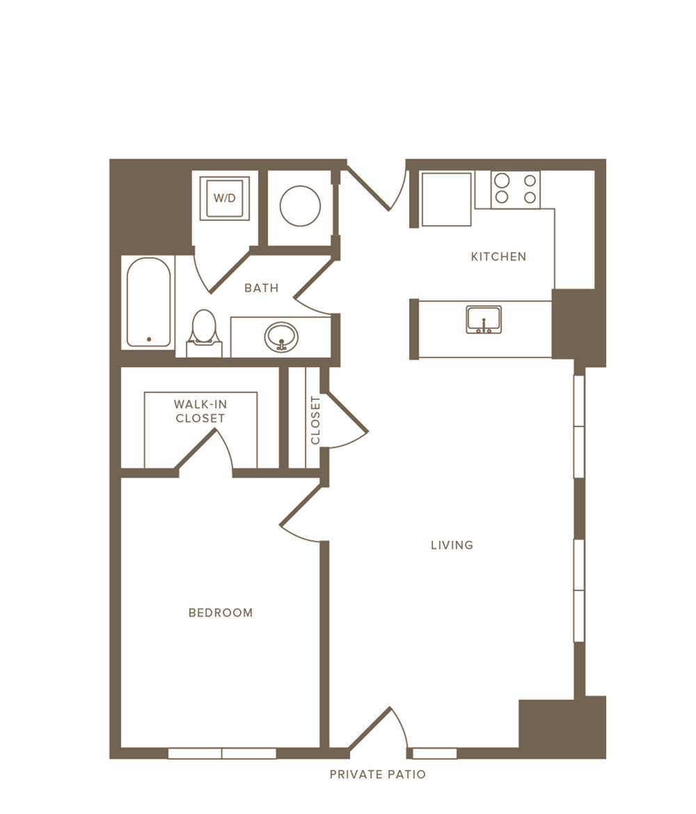 7074 to 715 square foot one bedroom one bath apartment floorplan image