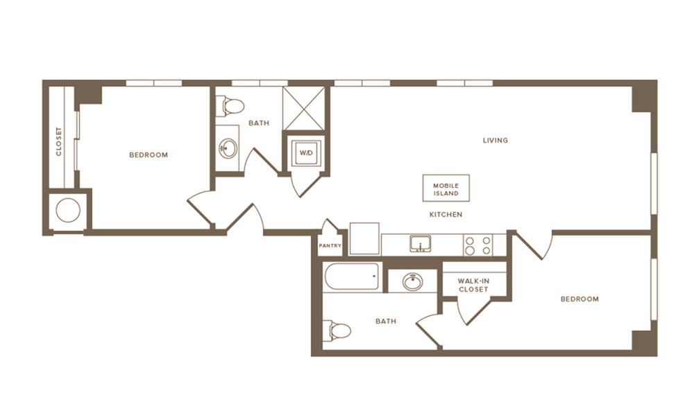 944 to 986 square foot two bedroom two bath apartment floorplan image
