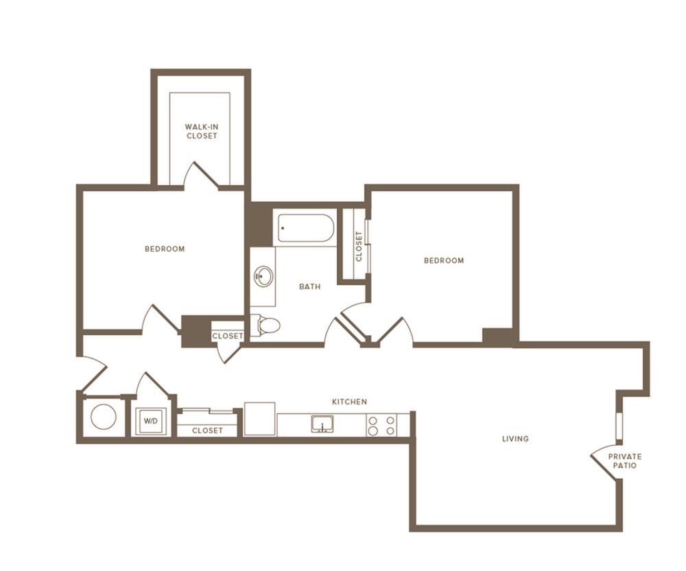 1001 square foot two bedroom one bath apartment floorplan image